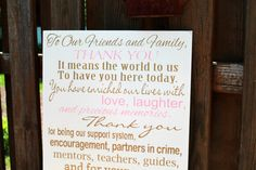 Thank You Wedding Sign  12 x 24 Made to by JolieMaeCollections