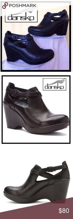 Dansko Franka Wedge Ankle Bootie Leather Platform Dansko Franka Wedge Ankle Bootie Leather Platform, size 39 Im a 8 1/2, these fit perfeCtFunky Fashion for someone like me who said I would never wear Dansko! Foam Cushion foots bed, leather heel wrap w/pipping trim,wraparound strap with metal buckle. Heel 3.5in Platform 1.5inches. Super on 70's meat Bad Ass Mamma. Summer camp saving. $195, they are in excellent Preloved Conditon. Ask me I will get back to you. very supportive, easily wore…