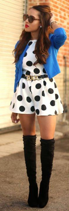 White And Black Polka Dot Playsuit