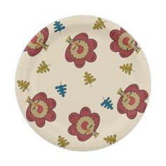 Red Kawaii Turkeys all over paper plates - home gifts ideas decor special unique custom individual customized individualized