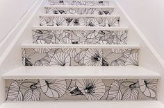Wallpapered Stairs. Pretty much planning on doing this in our condo