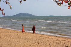 Buddhist monks on Kep Beach, Cambodia