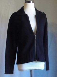 Caslon Black Collared Zip Front Cardigan Sweater Jacket Size PM