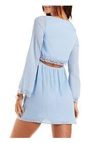 Lace-Trim Open Back Shift Dress
