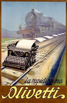 Vintage Poster Olivetti Typewriter Rail Advertisement by Ernesto Pirovano Fine Art Print - Features: Fine art giclee print on heavy archival paper Unique vintage design Archival quality ink to last a lifetime Made in the USA SHIPS IN DAYS Vintage Italian Posters, Pub Vintage, Vintage Advertising Posters, Old Advertisements, Vintage Labels, Vintage Travel Posters, Unique Vintage, Olivetti Typewriter, Poster Design