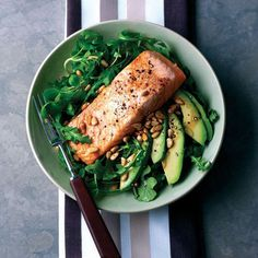 Salmon, Avocado, Rocket & Pine nuts. A light, energising meal. Avocado and Salmon provide a host of beneficial fats which are a great source of fuel.