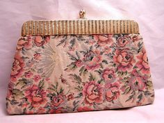 Vintage Tapestry Kiss Lock Clutch Purse with Satin by luvintage, $25.00