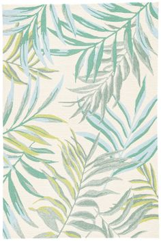The Catalina collection offers a chic indoor or outdoor accent to patios or high-traffic living spaces. The Osmia design showcases blue, gray, and green fern fronds on a bright white backdrop for vibrant tropical style. This hooked polypropylene area rug Coastal Area Rugs, Coastal Decor, Blue Area Rugs, Coastal Homes, Coastal Furniture, Coastal Living, Tropical Rugs, Tropical Style, Tropical Fabric