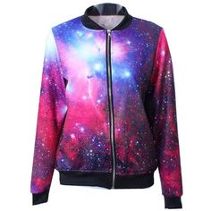 Purple Galaxy Print Long Sleeve Jacket ($32) ❤ liked on Polyvore featuring outerwear, jackets, shirts, galaxy, tops, purple, purple jacket, long sleeve jacket, zipper jacket and zip jacket