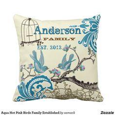 Aqua Hot Pink Birds Family Established Throw Pillows