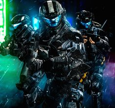 Fully equipped ODST Squad with suppressed weapons infiltrating an Insurrectionist occupied-city to assassinate a renegade former UNSC Commander during t. Halo 3 Odst, Halo 5, Halo Reach, Gundam, Halo Spartan, Halo Armor, Tactical Armor, Halo Master Chief, Halo Collection