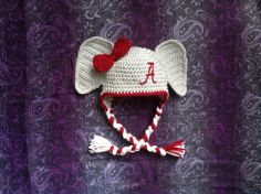 Alabama Roll Tide Elephant Hat with Earflaps and by TulipCrochet, $30.00