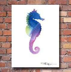 "Sea Horse Abstract Watercolor Painting 11"" x 14"" Art Print by Artist DJ Rogers"