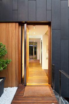 Divine Renovations Doors #Warm #Timber #Contrasting #Dark #External #Tiled #Walls #Inviting