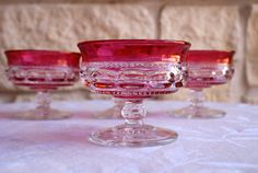 Set of 4 Tiffin Kings Crown thumbprint by DixieGirlsVintage, $35.00