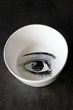 Handmade Monochrome Ceramics Collection - Eye Pudding Bowl