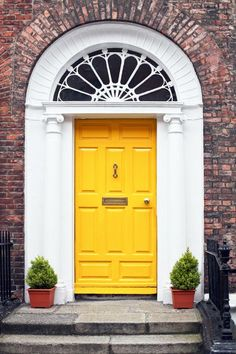 We love the look of a colorful front door to welcome guests into our home. Perhaps our front door is like our home's jewelry adding a little sparkle to the curb appeal. Painting your front door is one of the . Unique Front Doors, Yellow Front Doors, Best Front Doors, Front Door Paint Colors, Painted Front Doors, The Doors, Entry Doors, Entrance, Paint Colours