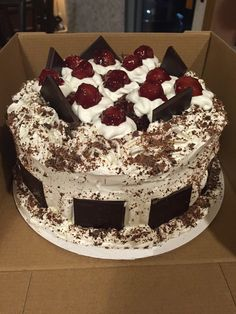 """This Cake I made for our Nephew Joshua's 17th Birthday Sweet Treat (Feb 2016), I substituted Cherry Juice instead of the alcohol. An Authentic Schwarzwald Kirsch Kuchen (Black Forest Cake), recipe is amazing, but should also be followed to a """"T"""". http://www.food.com/recipe/authentic-black-forest-cake-schwarzwald-kirsch-kuchen-343698"""