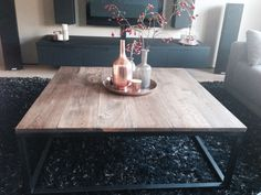 Industriële eiken salontafel met stalen frame. Www.marktplaats.nl Decor, Furniture, Living Room, Table, Home, Coffee Table, Home Decor, Room