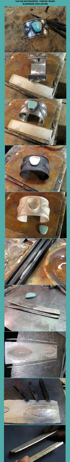 Navajo silversmith Vernon Tracy gives us a photostream of the steps he takes to make his hammered silver jewelry.