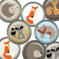 Woodland Animals Printable Digital Sheet - Circles - by GUEST50 on Craftumi