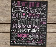 LOVE THIS!! What a beautiful way to capture memories of our little one's first year! [First Birthday Chalkboard Poster Sign for by CustomChalkPosters, $35.00]