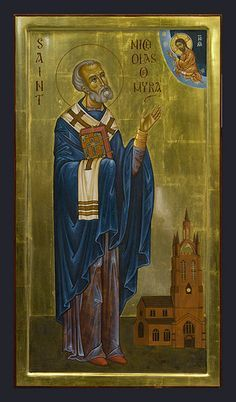 St Nicholas of Myra icon. This modern icon of the saint is in the Anglican Cathedral church in Newcastle, which is dedicated to him. Byzantine Icons, Byzantine Art, Religious Icons, Religious Art, Catholic Saints, Patron Saints, Anglican Cathedral, Cathedral Church, Art Through The Ages