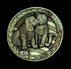"""Hobo Nickel """"Give Peace A Chance"""" Dog Cat by Howard Thomas"""