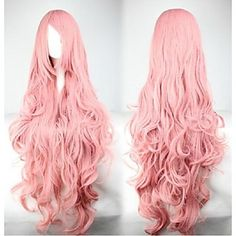 bølgete+langt+hår+cosplay+parykk+rosa+populære+cosplay+parti+parykk+–+NOK+kr.+210