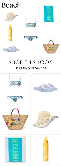 """""""Beach Ready"""" by lekeks ❤ liked on Polyvore featuring Dolce&Gabbana, Puma, Kayu, Miss Selfridge, Moschino and Clinique"""