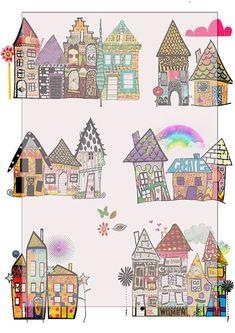 whimsical houses scrapbook/journal art by lilymelba1 on Etsy, $3.35