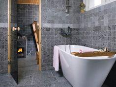 Photo by Tulikivi Bathroom Rules, Bathroom Toilets, Dream Bathrooms, Amazing Bathrooms, Soapstone Tile, Sauna Design, Stone Bathroom, Bathroom Inspiration, Villa