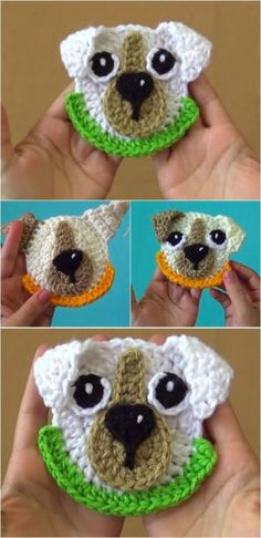 """Crochet """"Good Boy"""" Dog Applique - Knitting and Crochet Crochet Applique Patterns Free, Crochet Motif, Crochet Designs, Crochet Stitches, Knitting Patterns, Applique Design, Crochet Appliques, Baby Applique, Sewing Appliques"""