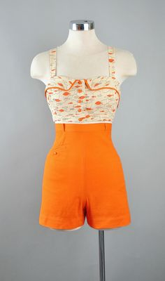 Retro One Piece Swimsuits, Vintage Swimsuits, Pin Up Outfits, Cute Outfits, Vintage Outfits, Vintage Fashion, Orange Fashion, Rompers Women, Vintage Skirt