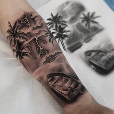 "492 curtidas, 7 comentários - Ruben's Art (@rubens_artattoo) no Instagram: ""#tattoo #tatuaje #tattoos #tatuajes #tatuaje #barco #barca #mar #sea #summer #summertattoo #palmera…"""