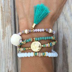 OOAK armcandy SET: 4 beaded bracelets in beautiful by BonkIbiza