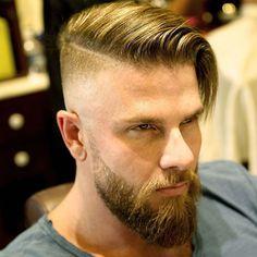 Long Comb Over + Undercut Fade + Beard