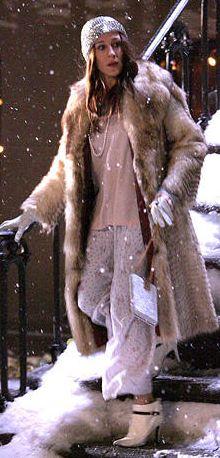 Fur (faux for me) coat, pj pants and yes... stilettos! LOL love it!