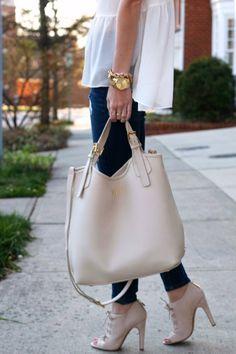 Gigi New York Ivory Smooth Leather Shopper Bag
