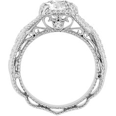 With an antiqued, ethereal design, this engagement ring showcases a gorgeous cubic zirconia gemstone that sits atop the ring in the center mount. White diamonds are speckled across the winding band of this 18k white gold jewelry.