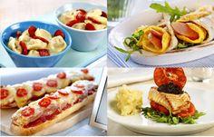 Avokadosalat, omelett i lompe, torsk og spekeskinke, kotelett med pasta, lett suppe, pariserpizza