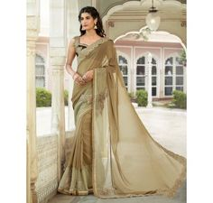 Golden saree with lace border in Georgette fabric from MuHeNeRa