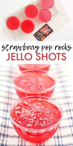 Strawberry Jello Shots with Pop Rocks will be the hit of your next summer get to. Strawberry Jello Shots with Pop Rocks will be the hit of your next summer get together! The great flavor with the pop and crunch of pop rocks is just so fun. Alcohol Jello Shots, Best Jello Shots, Jello Pudding Shots, Alcohol Drink Recipes, Summer Jello Shots, Fun Shots, Best Alcohol For Shots, Shot Ideas Alcohol, Tequila Jello Shots