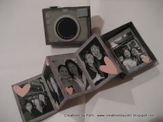 Tuto du mini en appareil photos...: http://creationsbypatti.blogspot.be/2009/05/matchbox-week-camera-matchbox.html