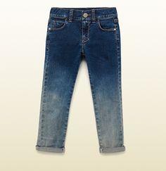 blue ombré stretch denim legging