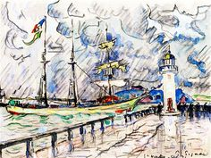 The Athenaeum - Saint-Malo, The Jetty and the Lighthouse (Paul Signac - )
