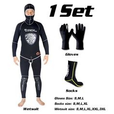 SLINX 5mm Neoprene Spear Fishing Scuba Diving Fishermen Snorkeling Wetsuit Set