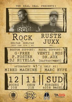 Rock of Heltah Skeltah and Boot Camp Clik & Ruste Juxx live Basel – Sa Nov 2016 Boot Camp, Nov 2016, Concert Tickets, Basel, Live Music, The Fosters, Dj, Presents, Dating