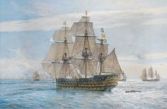 """Geoff Hunt Print - """"England Expects..."""" In this definitive image, HMS Victory leads the Windward Squadron as the first part of the signal flies at the mizzen. The Franco-Spanish line is seen ahead, with the Spanish flagship Santisima Trinidad on the left, her distinctive orange-yellow paintwork clearly discernable. At about 11:45 Nelson instructs his signal officer, Lieutenant John Pasco, to signal to the fleet.  -- on ScrimshawGallery.com #GeoffHunt #Nelson"""