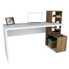 SIDE workstation, home office desk white, walnut – Modern Furniture Deals